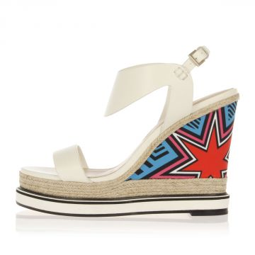 POP ART Leather Wedge Sandals 12.5 cm
