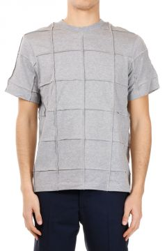 Checked EXPOSED SEAM Cotton T-shirt