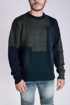 Virgin Wool Blend MOHAIR PANEL Sweater