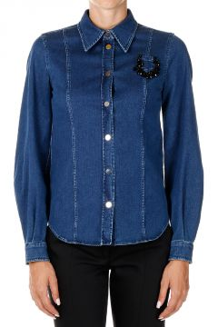 Stretch Denim Shirt with Application