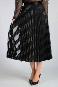 Pleated Skirt with Tulle Details
