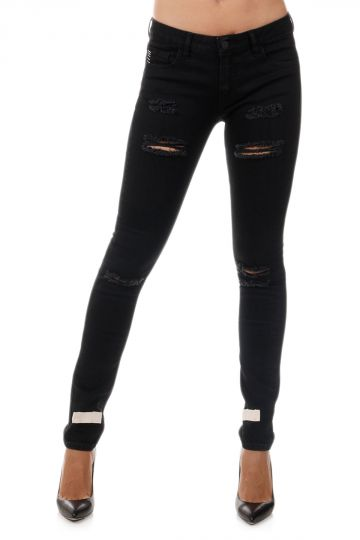 Jeans in Denim Stretch Con Stampe 14 cm