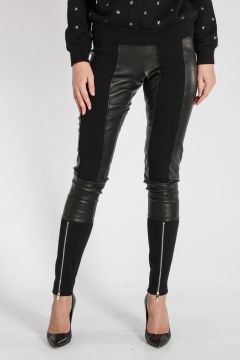 Leather & Stretch Cotton Pants