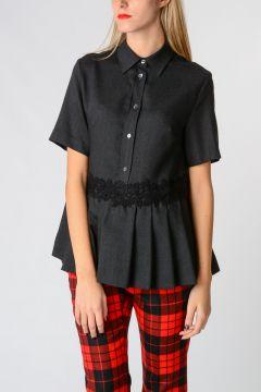 Virgin Wool LEENA Blouse With Short Sleeves