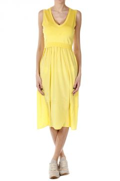 V-Neck SYRENE Dress with Knitted Insert
