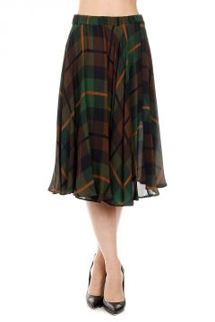 Silk Checked SECEK Skirt