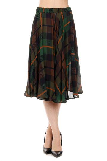 Silk Checked SECEK Skirt