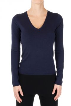 Mixed Silk V-Neck Stretch Sweater