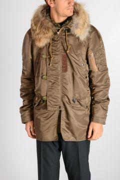 Nylon Jacket with Real Fur Detail