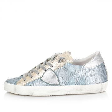 Sneakers in Pelle con Paillettes