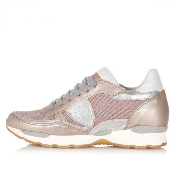 Sneakers in Pelle con Dettagli Glitter