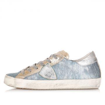 Sneakers in Pelle con Dettagli Paillettes