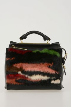 Real Fur & Leather SMALL RYDER Satchel Bag