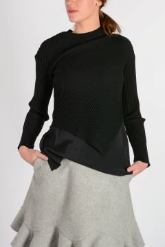Long Sleeve Sweater with Silk Combo