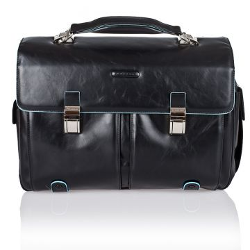 BLUE SQUARE Computer Briefcase in Genuine Black Leather CA1068B2