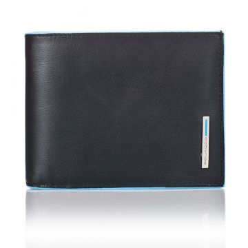 BLUE SQUARE Bifold Wallet 12 Credit Cards in Genuine Black Leather PU1241B2/N