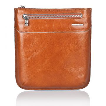 BLUE SQUARE Flat Shoulder Pocketbook in Genuine Orange Leather CA1358B2