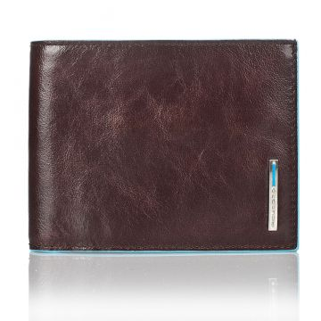 BLUE SQUARE Bifold Wallet 12 Credit Cards in Genuine Brown Leather PU1241B2/MO