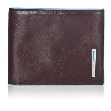 BLUE SQUARE Men's Wallet in Genuine Mahogany Brown Leather PU1307B2/MO
