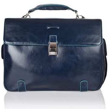 BLUE SQUARE Computer Briefcase in Genuine Blue Leather CA1066B2