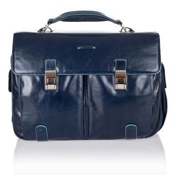 BLUE SQUARE Computer Briefcase in Genuine Blue Leather CA1068B2