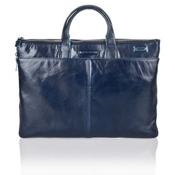 Blue Square Slim Expandable Briefcase in Dark Blue Leather CA1618B2