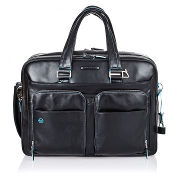 Leather BLUE SQUARE Expandable Briefcase