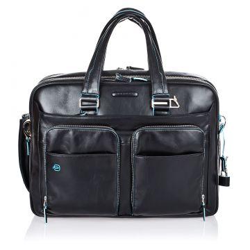 Leather BLUE SQUARE Expandable Briefcase