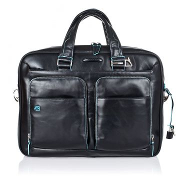 BLUE SQUARE Leather PC Briefcase