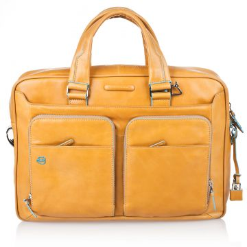 BLUE SQUARE Double Handles Briefcase in Genuine Yellow Leather CA2849B2/G