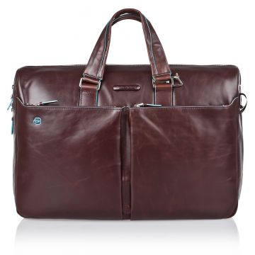 Leather BLUE SQUARE Expandable PC and iPad Briefcase