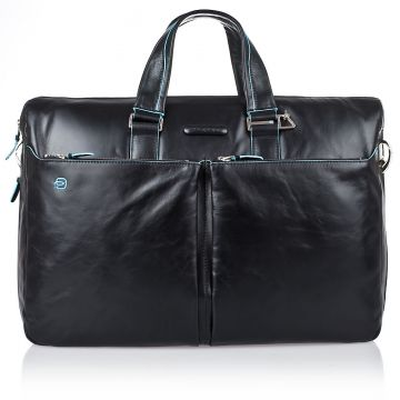 BLUE SQUARE Expandable Double Handles Briefcase In Genuine Black Leather CA2948B2/N