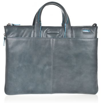 BLUE SQUARE Leather Slim Expandable Briefcase