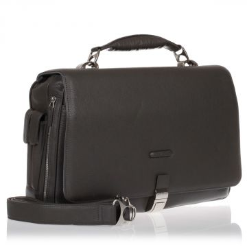 Leather and Fabric MODUS Expandable PC Briefcase