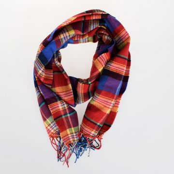 35x160cm Virgin Wool Cotton Checked Scarf