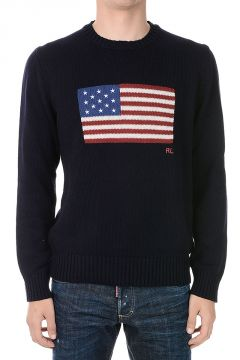 Round Neck USA flag Sweater