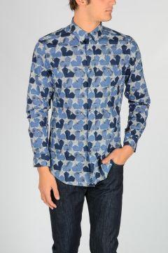 Camicia in Cotone a Fantasia Geometrica
