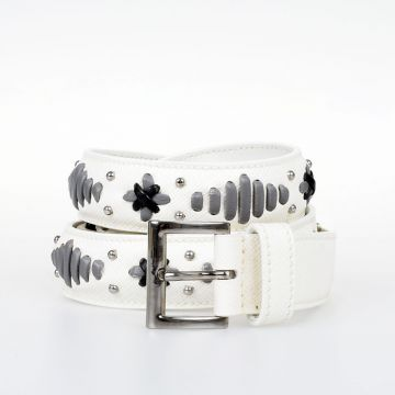 Embroidered Saffiano Leather Belt 25 mm