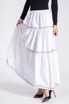 Cotton Stretch Skirt with Embroideries and Beads