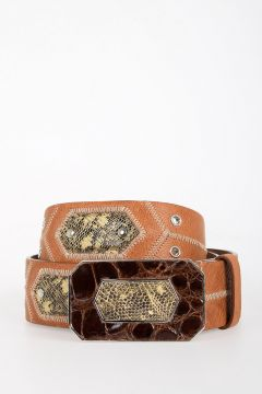 Leather Belt with Lizard and Crocodile Details 45 mm
