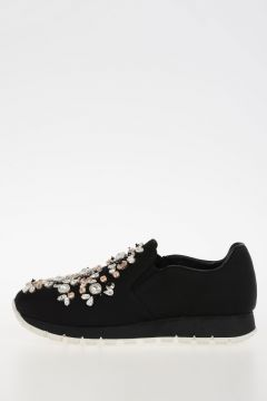 Fabric Slip on Sneakers with Jewels Embroidery