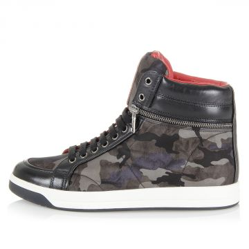 High Sneakers in Leather and Fabric