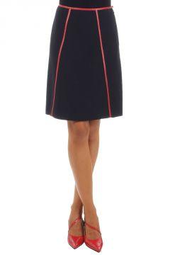 Line Skirt with Calfskin Details