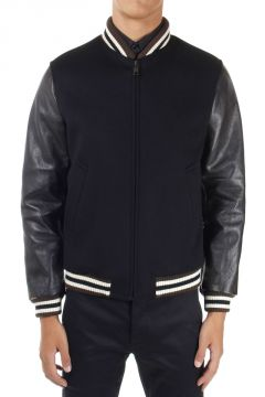 Leather Sleeves Padded Bomber Jacket