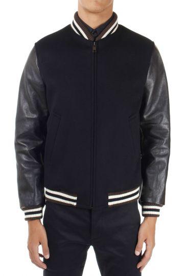 Leather Sleeves Padded Bomber Jacket