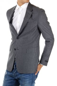 Houndstooth Printed Single Breasted Blazer