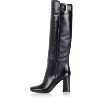 Leather High Boots with 8 cm Heel
