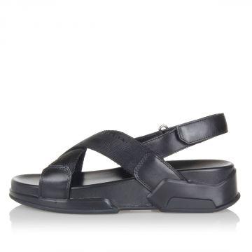 Sandalo in Pelle e Tessuto con Zeppa 5 cm