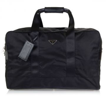 Fabric and leather travel bag