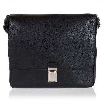 Borsa messenger in pelle martellata con pattina